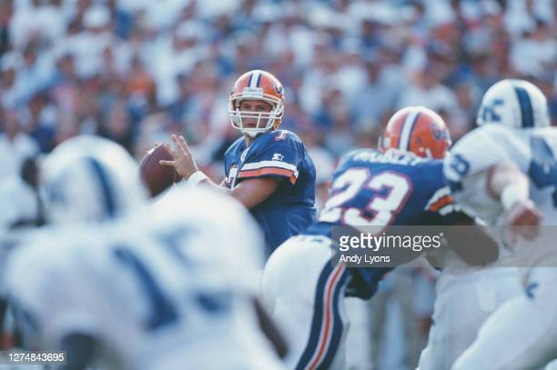 Danny Wuerffel, Quarterback for the University of Florida Gators prepares to throw the ball downfield during the NCAA Southeastern Conference college...
