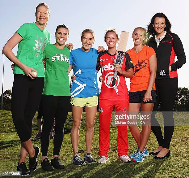 Danny Wyatt of the Renegades poses with sports stars including Netballer Caitlin Bassett Steph Catley of the Matildas marathon runner Jess Trengove...