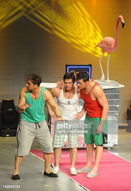 Danny Young, Alex Reid and Marcus Patrick perform on the press night of Wildboyz at Gordon Craig Theatre on April 24, 2012 in Stevenage, England.