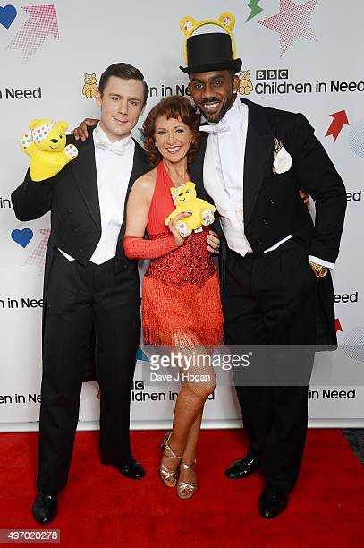 Dannyboy Hatchard Bonnie Langford and Richard Blackwood show their support for BBC Children in Need at Elstree Studios on November 13 2015 in...