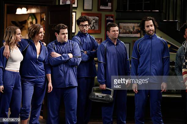 UNDATEABLE Danny's Boyz Walk Into a Bar Episode 311A Pictured Bridgit Mendler as Candace Bianca Kajlich as Leslie David Fynn as Brett Rick Glassman...