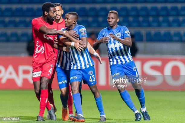 Danon Issouf Johannes Djourou Gbadjere of Antalyaspor AS Deniz Kadah of Antalyaspor AS Mahmoud Ahmed Ibrahim Hassan of Kasimpasa AS Bernard Mensah of...