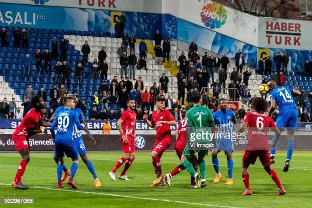 Danon Issouf Johannes Djourou Gbadjere of Antalyaspor AS Strahil Venkov Popov of Kasimpasa AS Mbaye Diagne of Kasimpasa AS Deniz Kadah of Antalyaspor...
