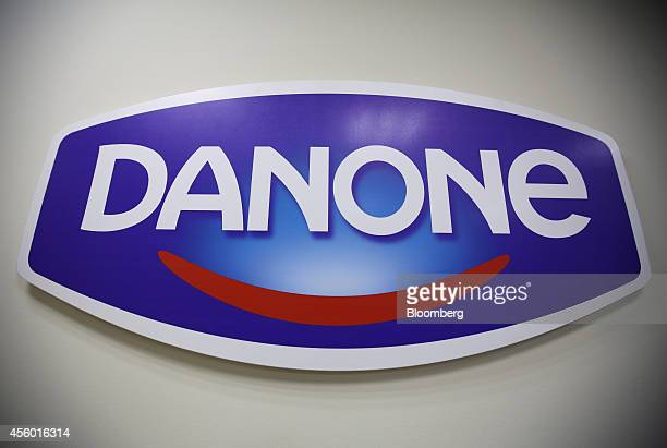 A Danone logo sits on display at the offices of the Group Danone in Russia dairy production plant operated by Danone SA in Saint Petersburg Russia on...