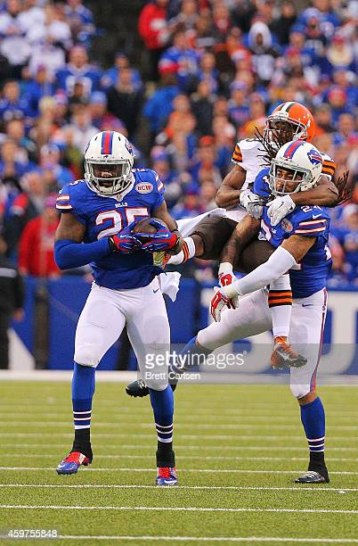 Da'Norris Searcy of the Buffalo Bills makes an interception thrown by Brian Hoyer of the Cleveland Browns during the second half at Ralph Wilson...