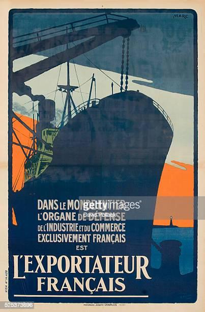 dans le monde entier l'organe de defense de l'industrie et du commerce exclusivement Francais est l'Exportateur Francais dockside scene of freighter...