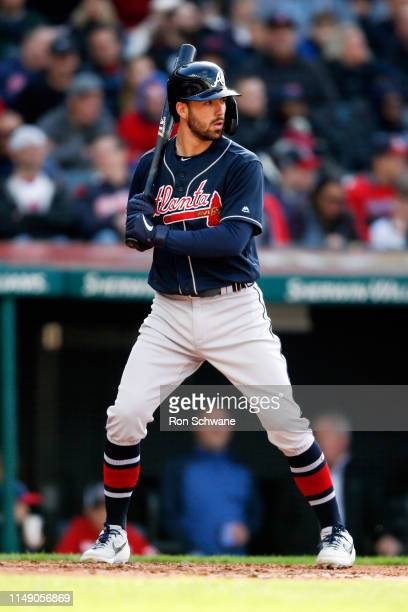 Dansby Swanson of the Atlanta Braves bats against the Cleveland Indians during the third inning of Game 1 of a doubleheader at Progressive Field on...