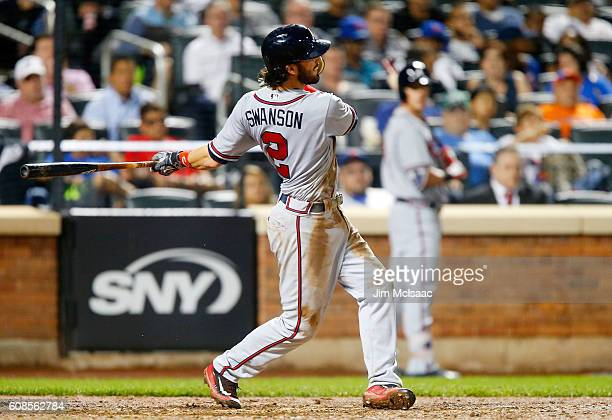 Dansby Swanson of the Atlanta Braves gets a tworun base hit in the seventh inning against the New York Mets at Citi Field on September 19 2016 in the...