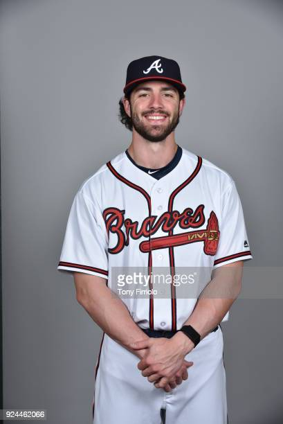 Dansby Swanson of the Atlanta Braves poses during Photo Day on Thursday February 22 2018 at Champion Stadium in Lake Buena Vista Florida