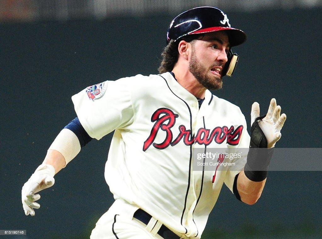 Dansby Swanson #7 of the Atlanta Braves rounds third base to score a sixth inning run against the Arizona Diamondbacks at SunTrust Park on July 15, 2017 in Atlanta, Georgia.