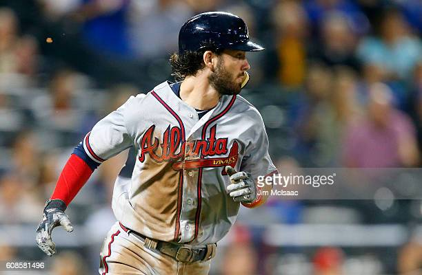 Dansby Swanson of the Atlanta Braves runs out his seventhinning tworun base hit against the New York Mets at Citi Field on September 19 2016 in the...