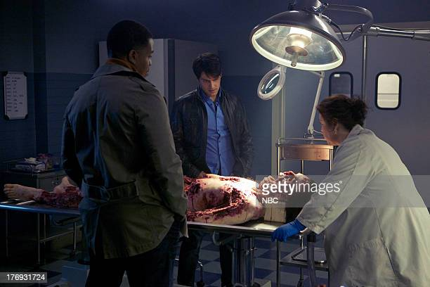 GRIMM Danse Macabre Episode 106 Pictured Russell Hornsby as Hank Griffin David Giuntoli as Nick Burkhardt Sharon Sachs as Dr Harper