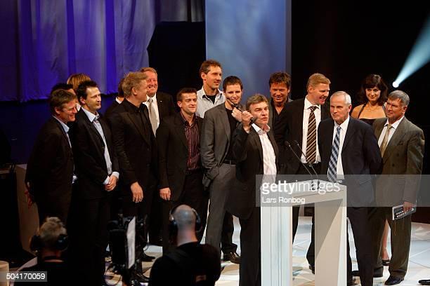 Dansk Fodbold Award 2007 Best National Game ever Euro 1992 Final Denmark Germany Lars Olsen and Richard Møller Nielsen receiving the award with the...