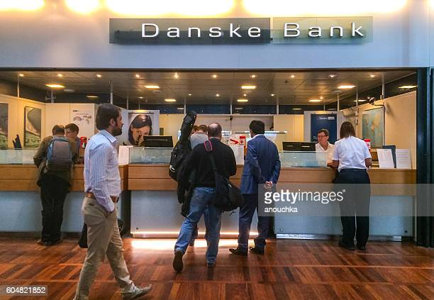 danske bank at copenhagen airport, denmark - danish culture stock pictures, royalty-free photos & images