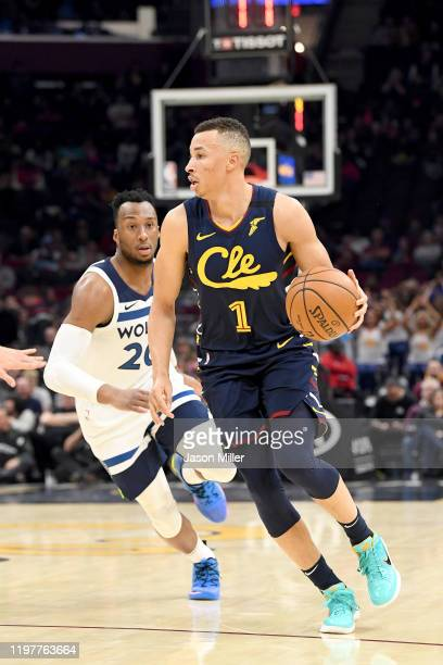 Danté Exum of the Cleveland Cavaliers drives past Josh Okogie of the Minnesota Timberwolves during the second half at Rocket Mortgage Fieldhouse on...