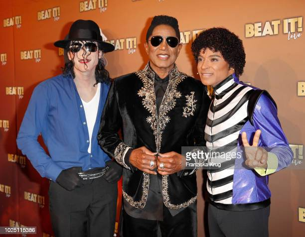Dantanio Goodmann Jermaine Jackson and Koffi Missah of 'BEAT IT' attend the musical premiere of 'BEAT IT Die Show ueber den King of Pop' at Stage...