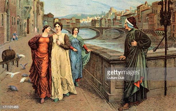 Dante Alighieri and Beatrice in Florence 20th century illustration Italian poet 12651321