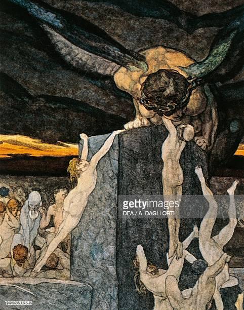 Dante Alighieri Divina Commedia 13041321 Inferno Canto XIX Illustration by Franz von Bayros Vienna 1921 Detail