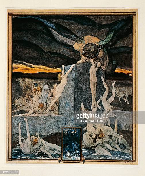 Dante Alighieri Divina Commedia 13041321 Inferno Canto XIX Illustration by Franz von Bayros Vienna 1921