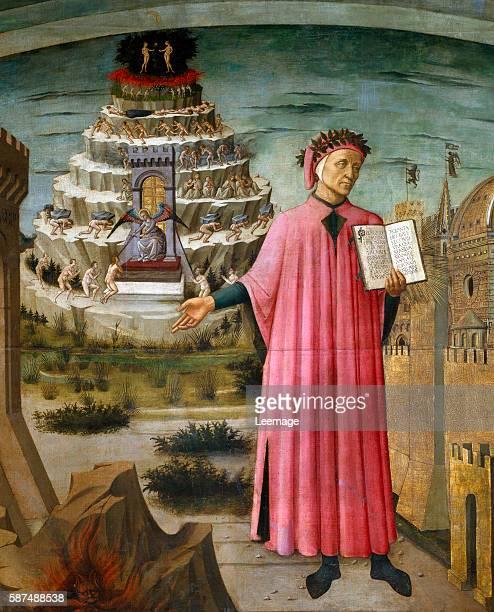 Dante Alighieri holding his poem the Divine Comedy Painting by Domenico di Michelino detail of the fresco La commedia illumina Firenze 1465 Cathedral...