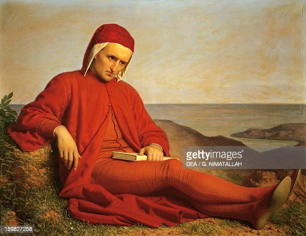 Dante Alighieri in exile by Domenico Petarlini oil on canvas Italy 19th century Florence Palazzo Pitti Galleria D'Arte Moderna