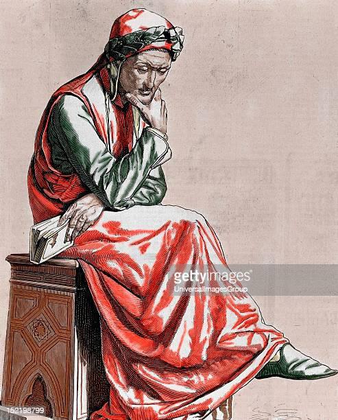 Dante Alighieri Italian poet Engraving by Pannemaker Coloured