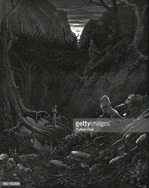 Dante Alighieri, La Divina Commedia, L'Inferno - Canto I : illustration by Gustave DorŽ for lines 43-44 'A lion came, 'gainst me as it appear'd /...