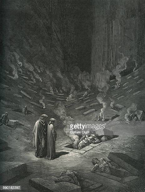 Dante Alighieri La Divina Commedia L'Inferno Canto IX illustration by Gustave DorŽ for line 124126 'He answer thus return'd / 'The archheretics are...