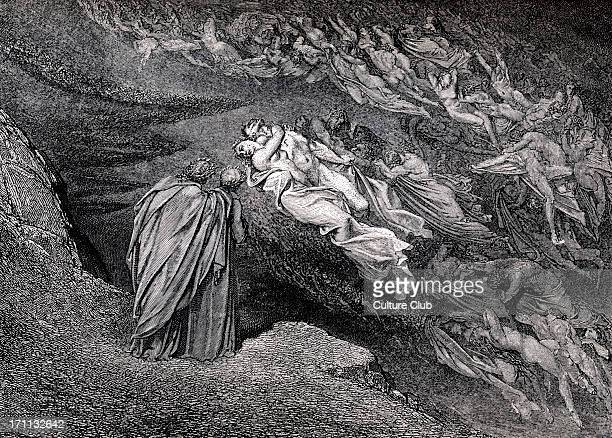 Dante Alighieri, La Divina Commedia, L'Inferno - Canto V : illustration by Gustave Doré for lines 105-106 'Love brought us to one deatrh: Caina waits...