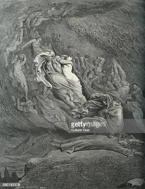 Dante Alighieri, La Divina Commedia, L'Inferno - Canto V : illustration by Gustave DorŽ for lines 137-138 'I, through compassion fainting, seem'd not...