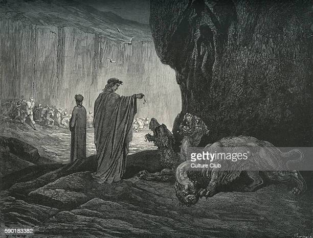 Dante Alighieri La Divina Commedia L'Inferno Canto VI illustration by Gustave DorŽ for lines 2426 'Then my guide his palms / Expanding on the ground...