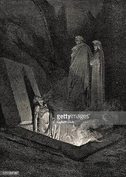 Dante Alighieri La Divina Commedia L'Inferno Canto X illustration by Gustave Doré for lines 4042 'He soon as there I stood at the tomb's foot/ Eyed...