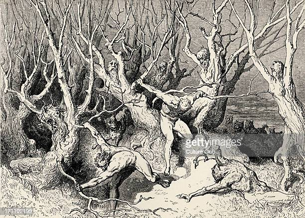 """Dante Alighieri, La Divina Commedia, L'Inferno - Canto XIII : illustration by Gustave Doré for line 120 ' """"Haste now,"""" the foremost cried, """"now haste..."""