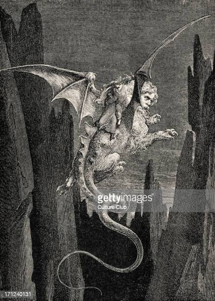 Dante Alighieri, La Divina Commedia, L'Inferno - Canto XVII : illustration by Gustave Doré for line 117 'New terror I conceived at the steep plunge.'...