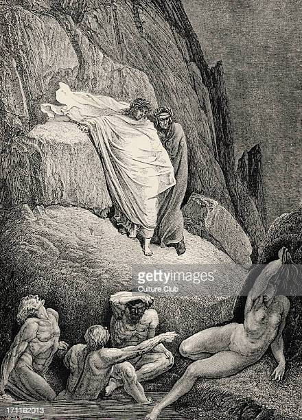Dante Alighieri, La Divina Commedia, L'Inferno - Canto XVIII : illustration by Gustave Doré for lines 130-132 'Thaïs is this, the harlot, whose false...