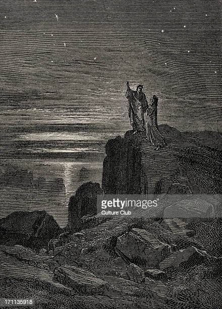Dante Alighieri La Divina Commedia L'Inferno Canto XXXIV illustration by Gustave Doré for line 133 'Thence issuing we again beheld the stars' Dante...