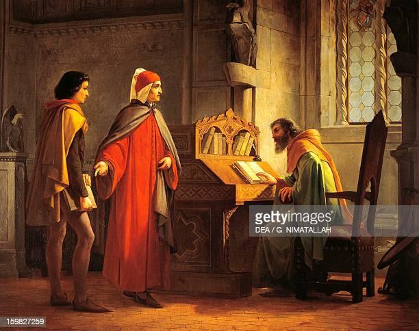 Dante Alighieri presenting Giotto to Guido da Polenta by Giovanni Mochi oil on board 108x845 cm 19th century Florence Palazzo Pitti Galleria D'Arte...