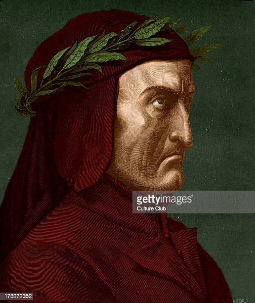 Dante Alighieri profile portrait with laurel wreath Italian poet 12651321