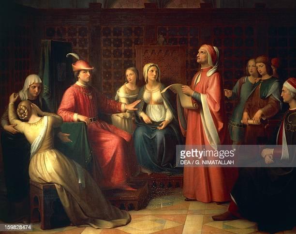 Dante Alighieri reading the Divine Comedy in Guido Novello's court by Andrea Pierini oil on canvas Italy 19th century Florence Palazzo Pitti Galleria...