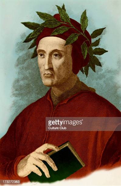 Dante Alighieri typical portrait with laurel wreath and book in his hand Engraving Italian poet 12651321