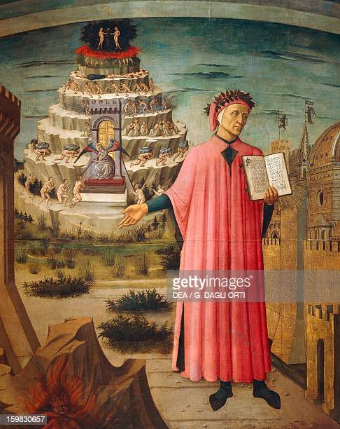 Dante Alighieri with the Divine Comedy in his hand and the mountains of purgatory in the background detail from the Divine Comedy by Dante Alighieri...