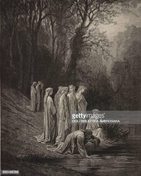 Dante and Statius drink water from the Eunoe, Earthly Paradise, engraving by Gustave Dore , Canto XXXIII, Purgatory, Divine Comedy by Dante Alighieri...
