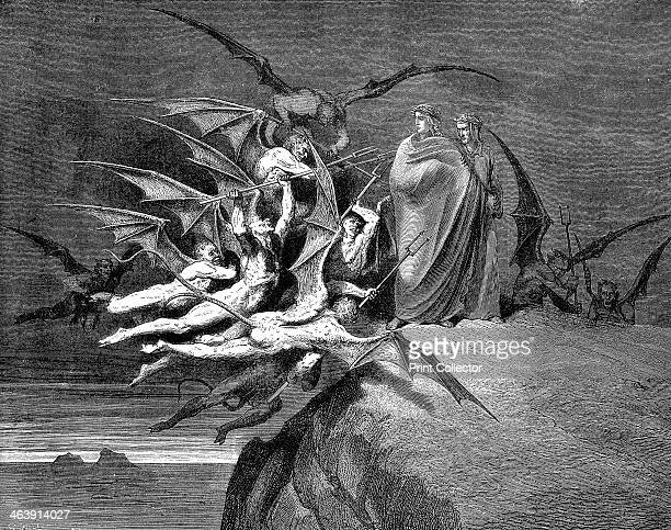 Dante and Virgil beset by demons on their passage through the eighth circle 1861 Italian poet Dante Alighieri was a great admirer of Virgil and in...