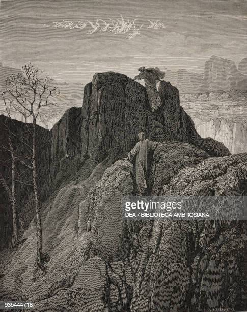 Dante and Virgil climbing toward the first Terrace of Ante-Purgatory, engraving by Gustave Dore , Canto IV, Purgatory, Divine Comedy by Dante...