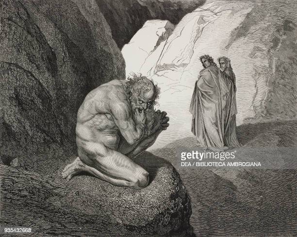 Dante and Virgil encounter Plutus the guardian of the fourth circle engraving by Gustave Dore Canto VII Inferno Divine Comedy by Dante Alighieri 1869...