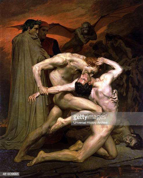 Dante And Virgil In Hell 1850 Painted by French artist WilliamAdolphe Bouguereau Oil on CanvasLouvre Museum