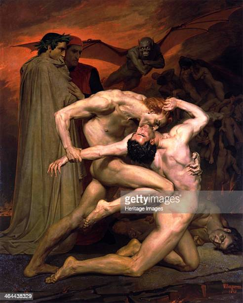 'Dante and Virgil in Hell' 1850 Scene from Italian poet Dante Alighieri's Divina Commedia Divine Comedy Dante was a great admirer of the Roman poet...