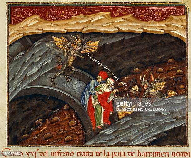 Dante and Virgil in the pit of swindlers Inferno Canto XXI miniature from the Divine Comedy by Dante Alighieri Paris Bibliothèque Nationale De France