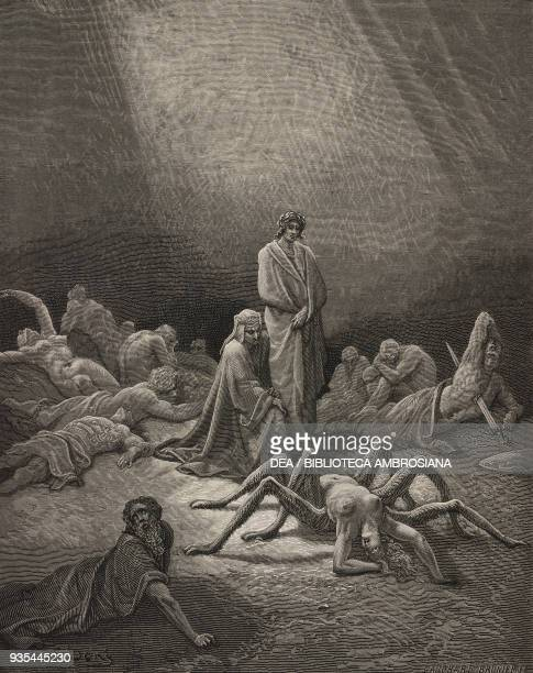 Dante and Virgil looking upon Arachne already partially transformed into a spider, an example of punishment for pride, First Terrace of Purgatory,...