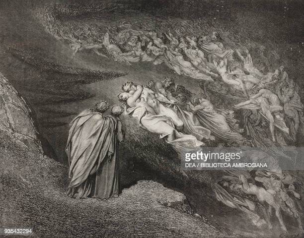 Dante and Virgil meet Francesca and her lover Paolo in the second circle of hell which is reserved for the lustful engraving by Gustave Dore Canto V...
